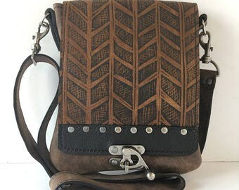 "Leather messenger bag , small, brown ,cross body, herringbone print ,""Leeds satchel"""