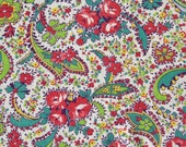 Vintage Feedsack Floral Paisley Feed Sack Flour Sack Fabric Lime Green, Teal, Pink 37 x 42 inches