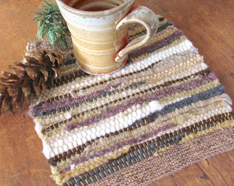 Rustic Mountain Cabin Farmhouse Decor Beige Brown Gold Kitchen Pot Holder, Country Home Decor Wool Hot Pad Cooking Mat Trivet, Man Chef Gift