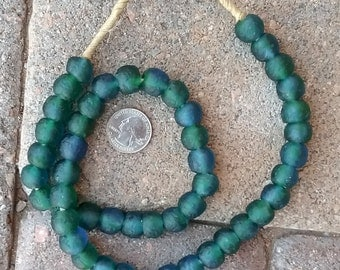 Ghana Glass Beads: Blue/Green (13x14mm)