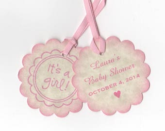 Baby Shower Double Sided It's A Girl Nail Polish Favor Tags, Pink Baby Girl Favor Label Tags - Set Of 20 Vintage Style