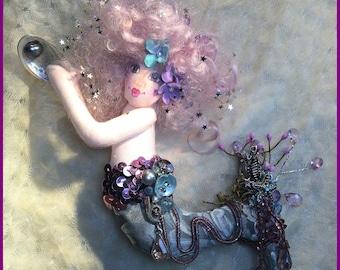OOAK Mermaid Art Doll Cloth Doll Soft Sculpture Mermaid Doll Lavender & Silvery Aqua with Abalone and Black Pearl