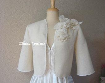 READY to SHIP. Vintage Style Bridal Wool Felt Jacket. Size Medium. BEAUTIFUL.