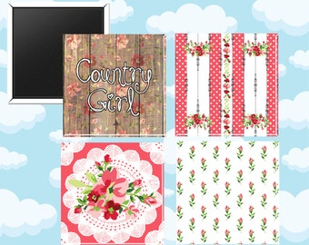 Country Girl Magnets - Set of Four 2-Inch Magnets - Southern