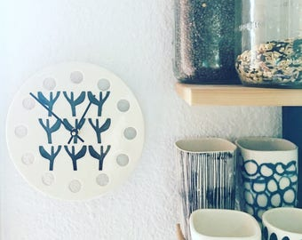 "modern porcelain clock 8.5"" screen printed modern saguaro pattern in black."