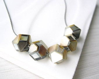 Mother of Pearl Necklace Geometric Jewelry, Modern, Polygon, Hexagon, Contemporary, Nickel Free Sterling Silver, Ivory, Cream, Brown, Tan
