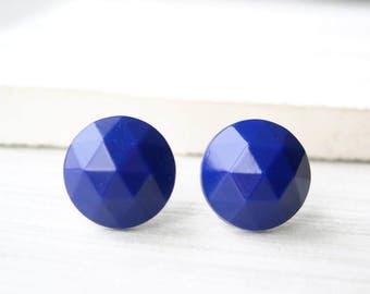 Dark Blue Earrings - Titanium Jewelry, Nickel Free Posts, Faceted Glass Studs, Cobalt, Royal, Simple, Vintage Cabs, Simple, Aqua