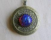 Fire Opal Lockets for Girls Art Nouveau Jewelry Dragons Breath Opal Victorian Jewelry Locket  Fire Opal Locket Opal Jewelry Cameo Necklace
