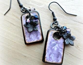 Rustic Artisan Jewelry - Purple Pink Decoupage Wood Earrings - Boho Dangle Earrings - Flat Geometric Earrings - Boho Wooden Earrings
