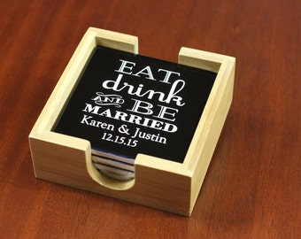 Personalized Black Ceramic Coaster Set With Bamboo Coaster Holder, Eat, Drink And Be Married