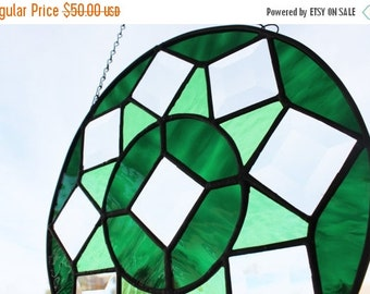 SPRING SALE ROUND Stained Glass Beveled Medallion Window, Geometric Suncatcher, Stained Glass Window Suncatcher, Glass Window Decoration, We