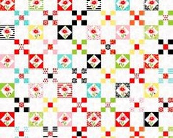 Fab Friend'zy from Henry Glass Fabrics - Full or Half Yard Checkerboard Black Red, Pink Flowers Nine Patch