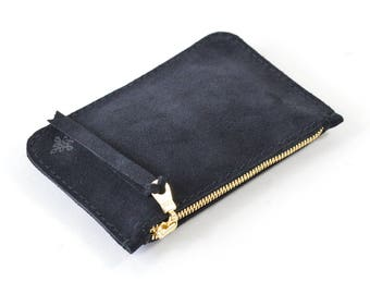 Navy Blue Suede Leather Zip Pouch Purse Wallet Handmade