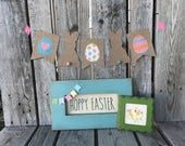 Ready to ship green Easter Spring Chick framed stitchery embroidery handmade seasonal home decor primitive shanby chic