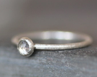SALE - White Topaz  Silver Ring - 4mm Faceted Gemstone on Matte Argentium Sterling Band - Size 5.75 , 6 , 6.25