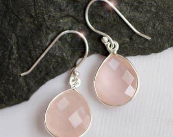 Just Peachy -  Faceted Morganite Sterling Silver Earrings