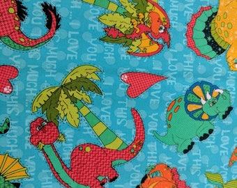 Dinosaur Fabric - Dinosaur Love Fabric-  one yard