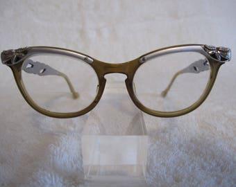 ARTCRAFT Vintage EYEGLASSES Cat Eye Glasses Aluminum Frames case USA (V1)