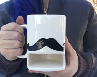 I Mustache You to Back Away from My Cookies - Ceramic Cookies and Milk Dunk Mug - Handlebar