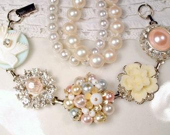 OOAK Pastel Vintage Earring Bridal Bracelet, Pink Mint Yellow Pearl Rhinestone Bridesmaid Jewelry, Romantic Wedding Gift Love Bird Set Avail