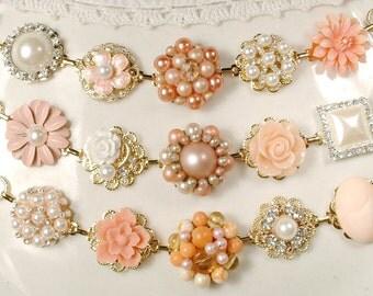 OOAK Coral, Peach, Ivory Bridesmaid Bracelet Set 3 4 5 6 7, Pearl Rhinestone Gold Vintage Wedding Earring Bracelets Gifts Rustic Chic Flower