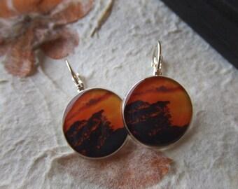 SALE!!!! Costa Rican Sunset. Short Dangle Photo Earrings.