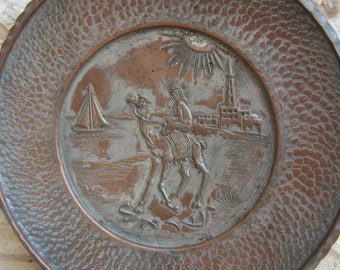 Old Israeli Copper Plate Vintage Souvenir Collectibles Wall Decor Old Port  City with Camel