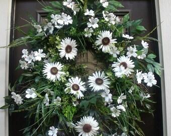 Dogwood Wreath, Spring Wreath, Summer Wreath, XL Wreath, White Wreath, Greenery Wreath, Daisy Wreath, Floral Door Wreath