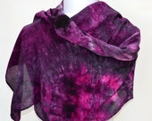 Hand dyed Silk Wrap, Wrap, Hand dyed Scarf, Silk Scarf ,Ready to Ship, Gift for Her,  62 x 18 inches W33