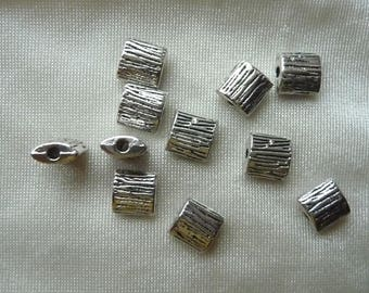 Bead, Antiqued Silver Finished, Pewter, Zinc Based Alloy, 8x8mm, Textured, Flat Square, Pack of 8 beads.