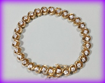 Vintage Gold Sterling Silver Tennis Bracelet Sparkling Cubic Zirconia Well Made Solidly Crafted Durable Faux Diamond Bracelet