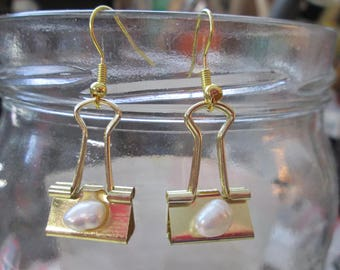 GOLDEN Binder Clip Earrings embellished with real sweetwater pearls