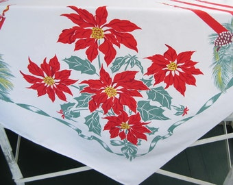 Vintage Christmas Tablecloth, cotton, rectangular,red green, print