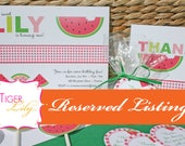 Reserved Listing for Sweet Watermelon Custom Sign and Cards for Xica