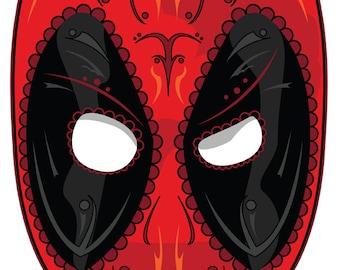 Deadpool Sugar Skull 3x4 Vinyl Sticker