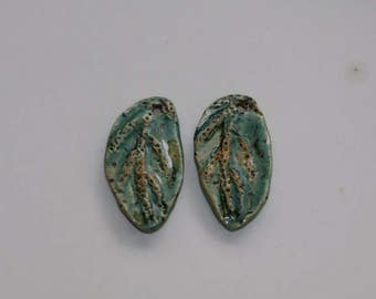 Ceramic leaf earring components ceramic  pendants clay charms tribal clay art Beads earthy organic jewelry components supplies potterygirl