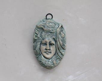 Ceramic goddess pendant Handmade ceramic pendant clay native goddess  pendant art bead organic earthy artisan jewelry supplies potterygirl1