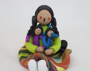 Mother with children storyteller doll Native American style figurine