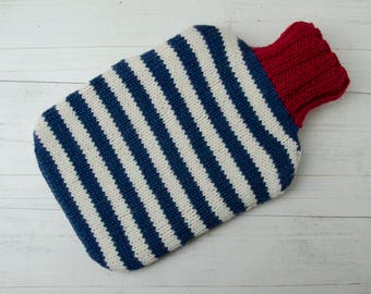 Knitted hot water bottle cover blue and white stripes wool and alpaca