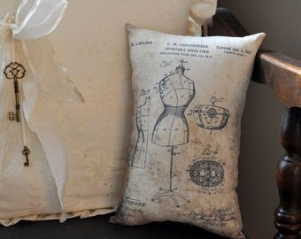 Patent Dress Form Drawing pillow