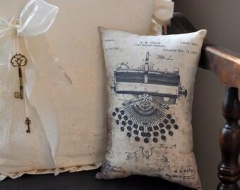 Patent Typewriter Drawing pillow