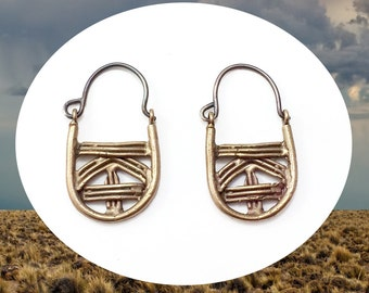 Basket earrings  |  Handsculpted design cast in recycled bronze