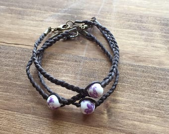 Single stacking bracelet:  Purple Floral