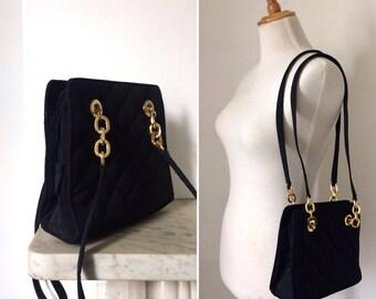Vintage 1990s St. Michael black quilted shoulder bag / minimal black fabric handbag with gold hardware