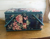 Sewing Basket - Dark Green Shabby Chic Cabbage Roses - Vintage Fabric Covered Sewing Box