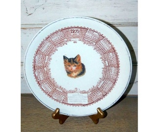 Antique 1908 Calendar Plate - Advertising Plate - Kitten Picture