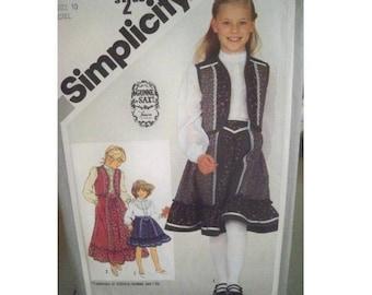 Simplicity Gunne Sax Pattern 5162 - Vintage Girl's Skirt, Blouse and Vest - Uncut