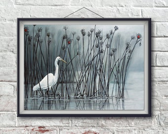 Egret Painting, Egret Wall Art, White Bird Painting, Bird Decor, Bird Wall Art, Bird Painting, Water and Bird Painting by Amy Kulseth