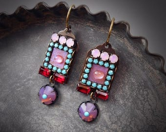 Antoinette Micro Mosaic Earrings Dainty Moonstone Earrings Purple Turquoise Red Pink Opal Micromosaic Earrings Garden Wedding Exotic Boho