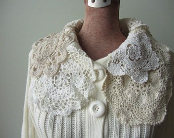 Mori Girl Doily Sweater, Off White Cardigan, Upcycled Sweaters, Button Front Cardigan, Altered Fashion, Up Cycled, Vintage Doilies Clothing
